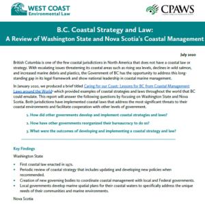 B.C. Coastal Strategy and Law: A Review of Washington State and Nova Scotia's Coastal Management
